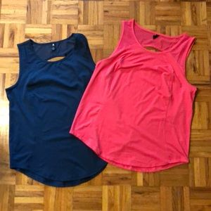 Two workout tops, teal, pink, sz L